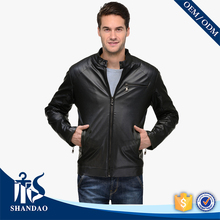 Guangzhou Shandao Custom Autumn Modern Concise Motor Style Zipper Front Black First Genuine Leather Jackets