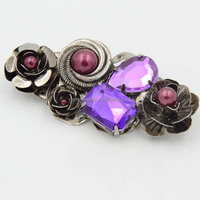 Fancy Amethyst Flower Brooch Wholesale Price