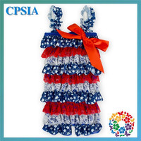 24pcs/lot Blue White Stars Satin Red White Lace With Red Bow 2015 Latest Baby Romper Girls Jumpsuit Infant Clothing