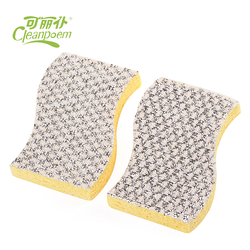 Manufacturer supply high quality golden & silver cellulose sponge scouring pad for washing dishes