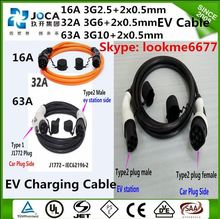 SAE J1772 to IEC 62196 5 meters spiral cable EV charging connector