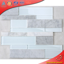HF-2 White Marble Granite Stone mixed Super White Glass Brick Strip Bathroom Wall Tile