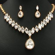26 Simulated Diamond Gold Plated Necklace Earrings Set