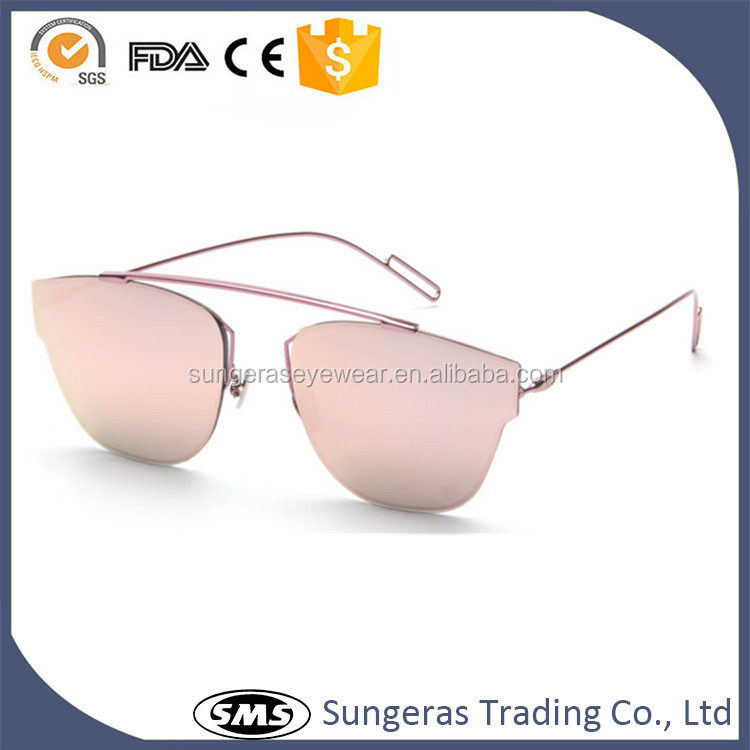 Wholesale new fashion Metal frame 2017 pilot sunglasses mirror color coating eye sunglasss clear lens aviator glasses