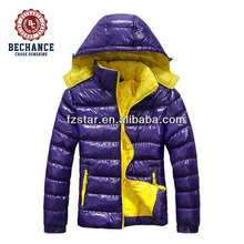 LZ131 100% shiny nylon insulation 90/10 down feather jacket for men