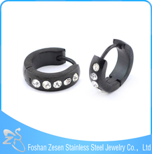 ZS05056 black hoop earrings manufacturer bijoux handmade crystal avenue earrings