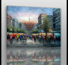 Artwork paris street sunrise canvas oil painting ZQ-24