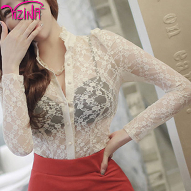 Fashion sexy transparent neck design of blouse