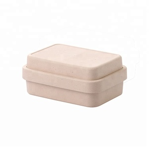 Biodegradable OEM double layer pink bamboo fiber bento lunch box