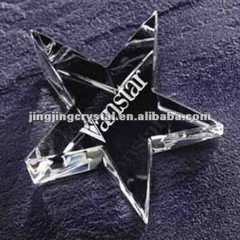 Star Shaped 3D Laser Engraved Crystal Wedding Gifts