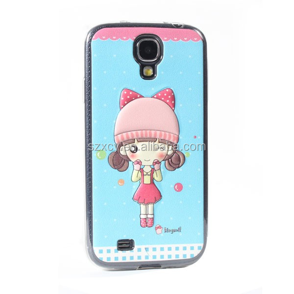 china 3D printer factory custom embossed leather patch soft TPU mobile phone back cover case for samsung galaxy S4