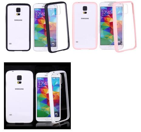 TPU+PC Hybrid Hard Transparent Phone Case for Samsung Galaxy S5 i9600 ( Black+Transparent)