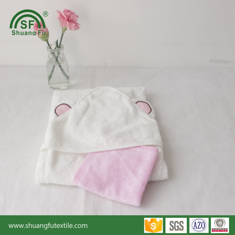 Factory customize 100% organic white hooded towel with bear ears