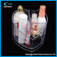 Acrylic heart-shaped OEM clear acrylic display stand case make up organizer