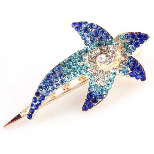 wholesale Luxurious Full Rhinestone Big Starfish Hairpin Crystal Barrette Hair Accessory Clips For Women
