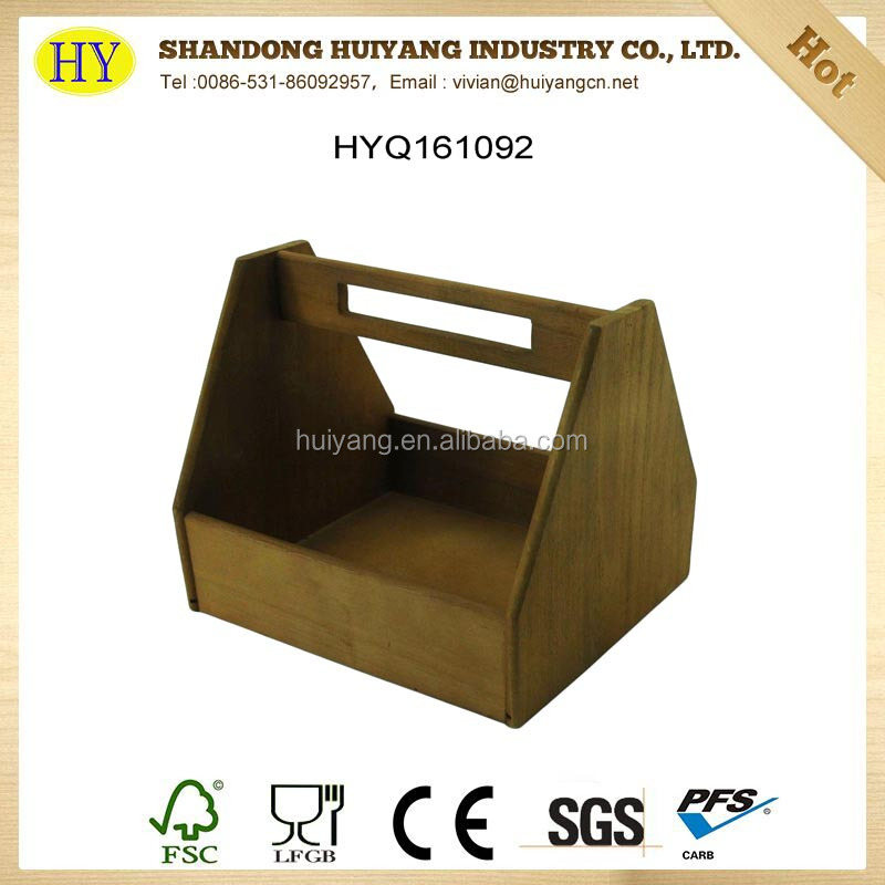 Wholesale Custom Made Antique Wood Handle Beer Serving Tray