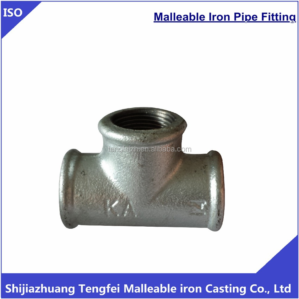 Galvanised malleable iron pipe fittings tee gi