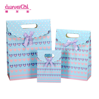 Custom size blue die cut fancy heart design wedding candy gift packaging paper bag