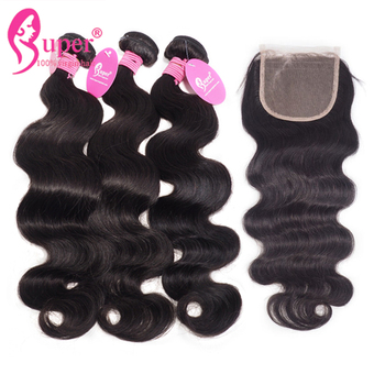 3 Bundles and 1 Piece 4X4 Swiss Lace Closure,   Bresiliens Body Wave Raw Natural Black Hair Extensions Perruque Cheveux Cabelo