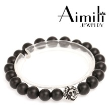 L511 8mm Black Matte Onyx Beads With Lion Heads Jewelry Bracelets