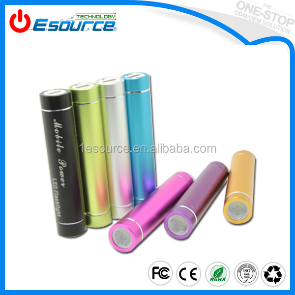 2017 hot portable 2600mah Rohs Power banks with LED Torch