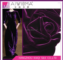 High density silk base plain dyed/solid color mulberry silk&rayon velvet fabric