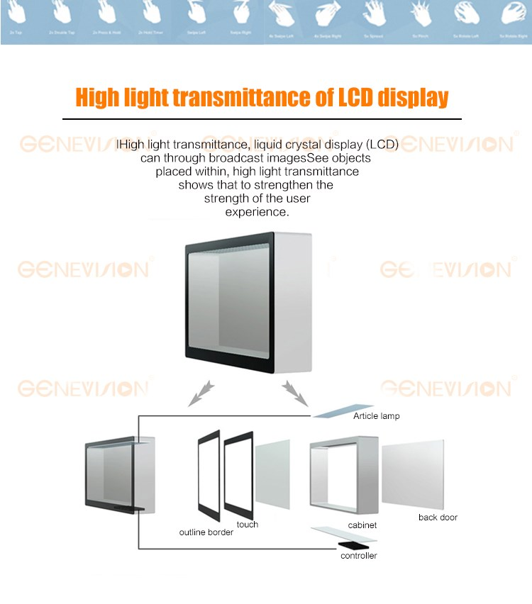 42 inch lcd transparent kiosk showcase diaphanous box transparent monitor