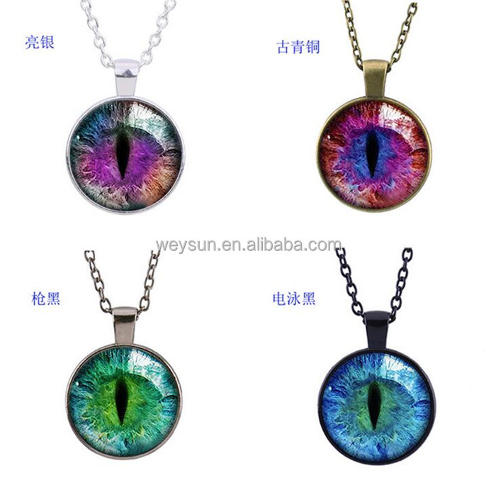 Blue Green Cat Eye Necklace Pendant Fashion Charming Rhinestone Ethnic Necklace for Men Women