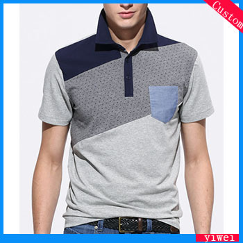 High quality stiff collar grey cotton polo shirt with for Stiff collar polo shirt
