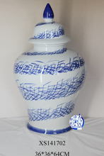 blue and white ceramic porcelain temple jar for decoration