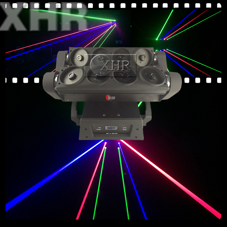 Full Color RGB Eight Eyes Moving Head Spider Laser Light,DMX512 Laser