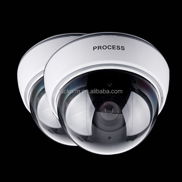 white cover rotating battery operated Waterproof CCTV Dummy Dome LED Fake Surveillance dome Security Camera