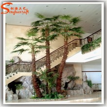 High quality artificial plastic fake palm trees leaves indoor decorative garden