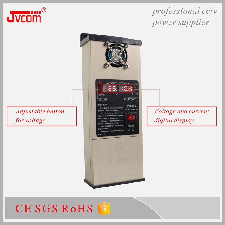 CE Approved aluminum case dc 12volt 12.5amp high quality security power supply