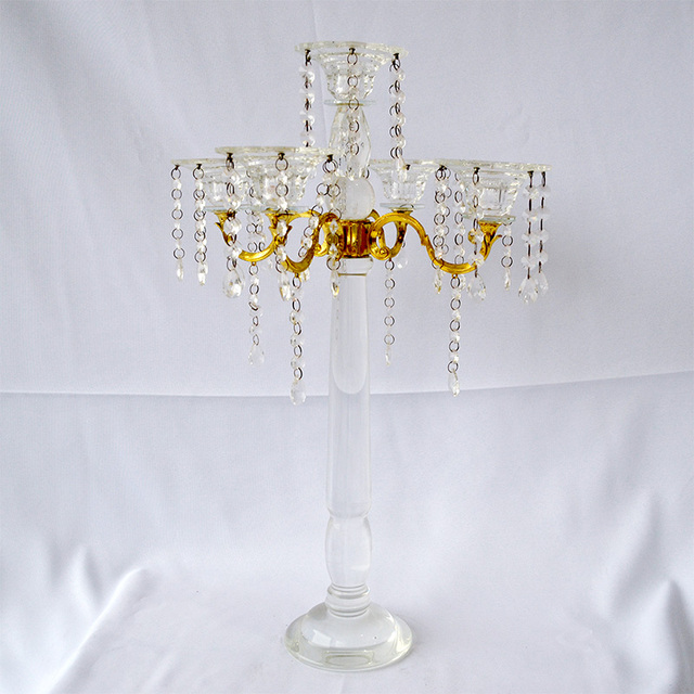 Best sales wedding planning center used 5 heads crystal candelabra