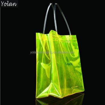 promotion shining PVC waterproof shopping bag with handle