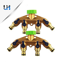 3/4 Inch Brass 4 Way Splitter Hose Tap Connector With Nipple