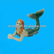 Porcelain miniature mermaid figurine