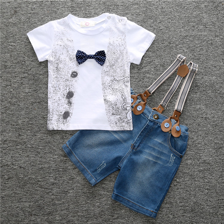 Baby clothes boy gentleman suit bow tie short sleeve shorts summer two-piece newborn baby boy clothes