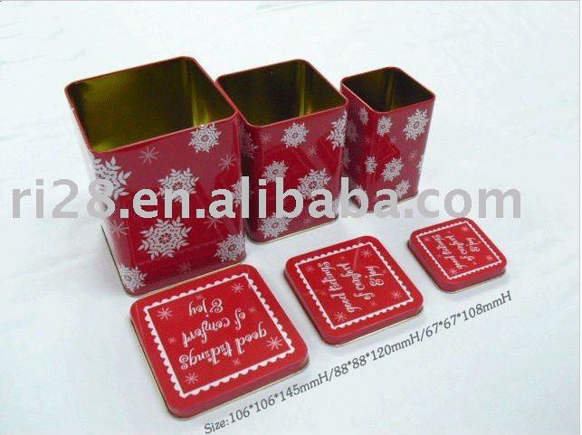 Square Christmas gift metal box set 3