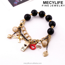 MECY LIFE 2015 wholesale high quality lovely girl's bracelet charms bracelet slogan bracelet