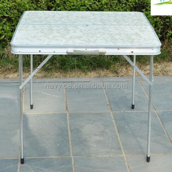 Navyice Folding Table Desk Aluminum Camping Table Outdoor Desk with Parasol Hole