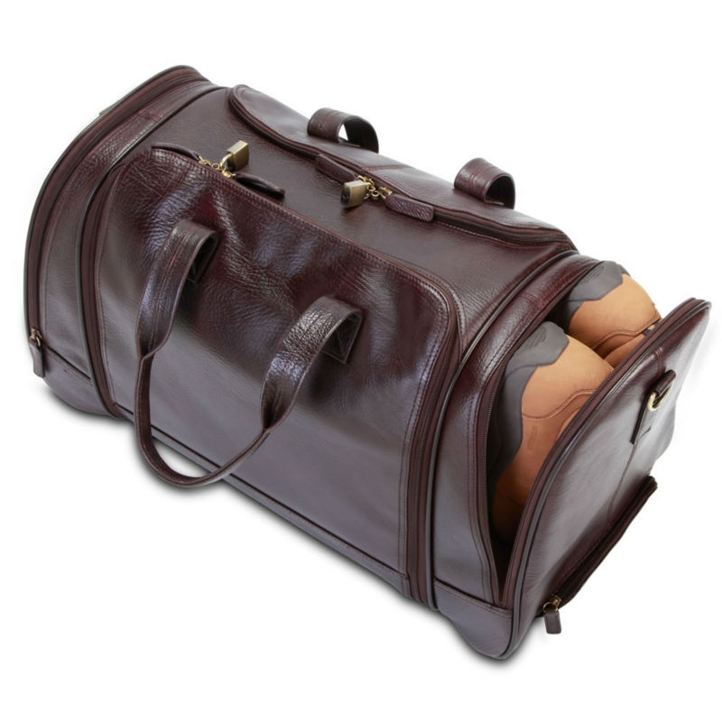 Luxury leather carry on luggage