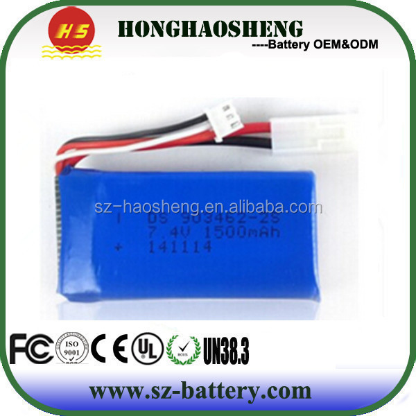 High rate rc toys lipo battery 903462 25c 7.4v 1500mah rc helicopter battery