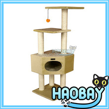 Almond Beige Cat Tree Play House Condo Scratcher Post Furniture