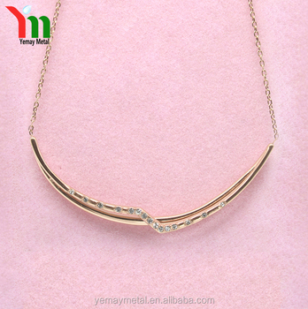Gold Plated Fashion jewellery Crystal Chain Necklace for women Delicate hollow Arc Bar clavicle Necklace