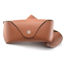 low MOQ custom logo brand design cheap wholesale leather sunglasses case