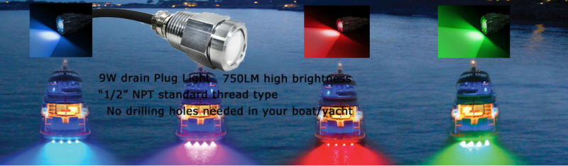 Fishing boar accessories underwater boat light led drain plug light
