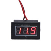 "0.56"" Waterproof DC 15-120V Small Digital Voltmeter Voltage Measurement Gauge Blue/Green LED Panel 24V Volt Meters (Blue)"