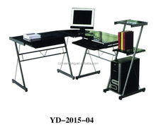 tempered glass desktop office table with shelf